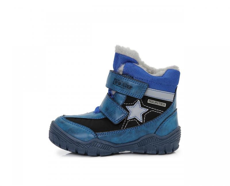 7c3007b631f5 D.D.step modré mix chlapčenské VODEODOĽNÉ THERMO kožušinové vysoké detské  topánky na suchý zips