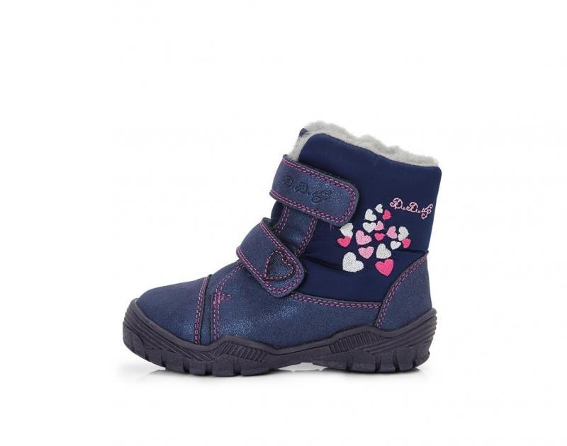 e1d564d9c D.D.step modré dievčenské VODEODOĽNÉ THERMO kožušinové vysoké detské  topánky na suchý zips