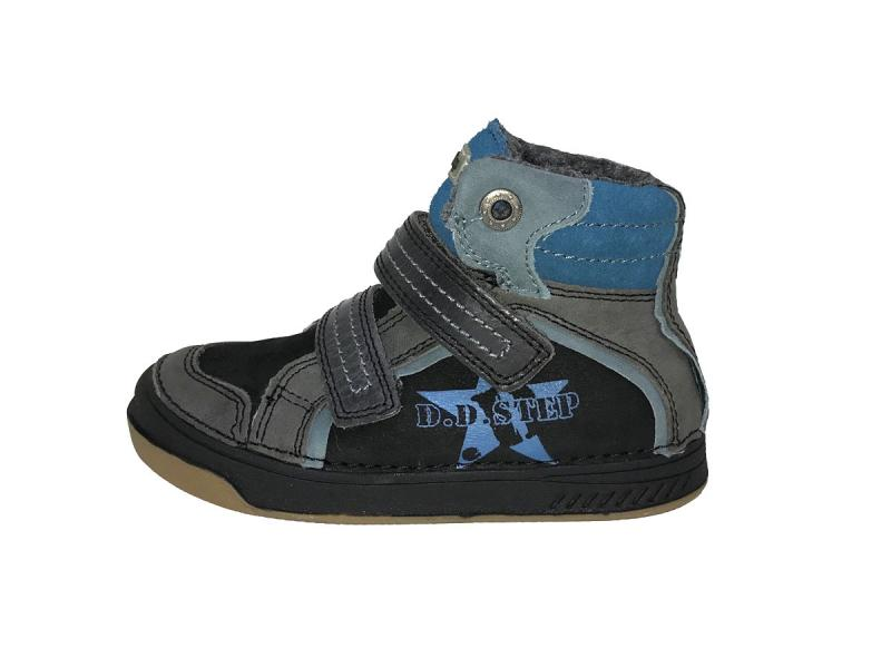 1852c489f9e9 D.D.Step modré mix vysoké kožušinové topánky na suchý zips 25-30 ...