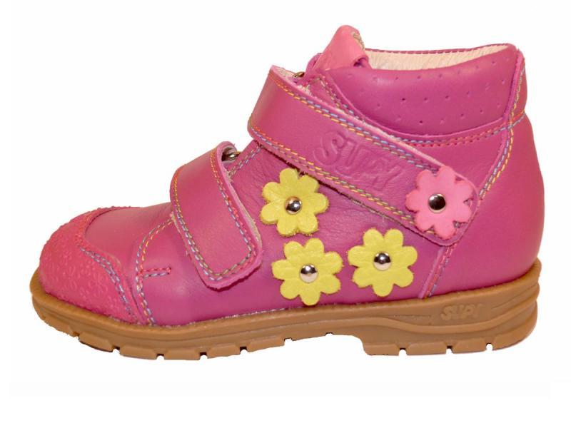 Supykids GABO pink-sárga virágos tépőzáras supinált gyerekcipő - 2