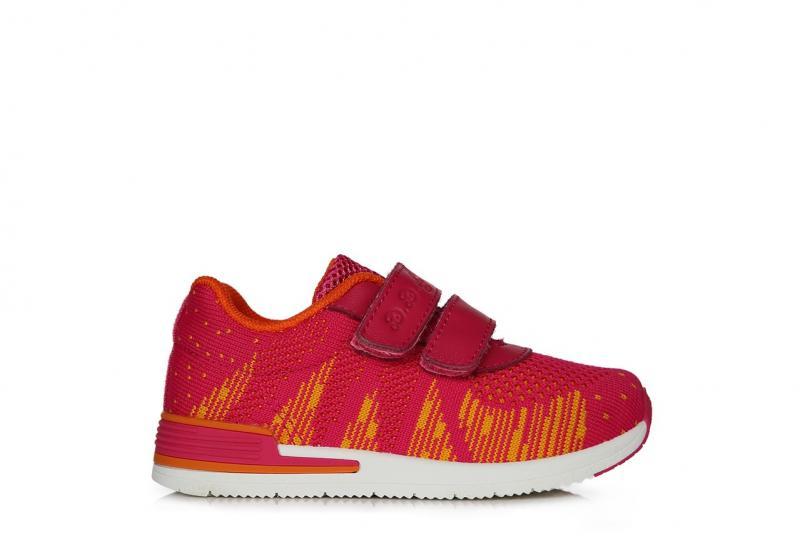 D.D.Step ružovo žlté plátené topánky na suchý zips pre dievčatá 20-25 - 3