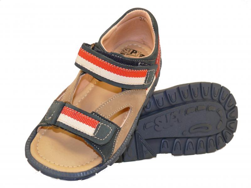 Supykids ROMI detské sandále na suchý zips modro-červené - 3