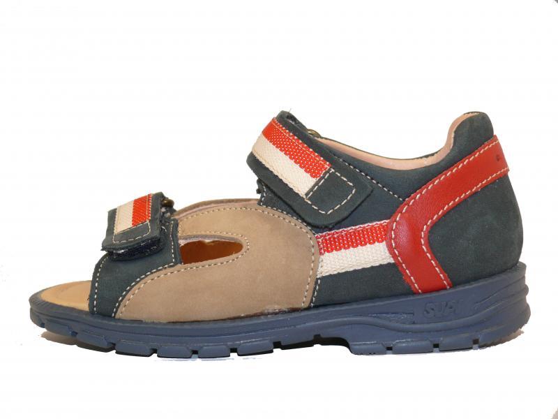 Supykids ROMI detské sandále na suchý zips modro-červené - 2